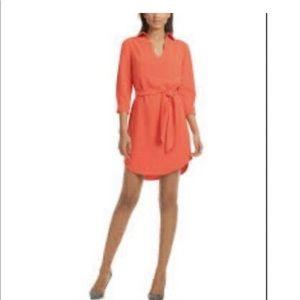 Trina Turk Orange Belted Shirt Dress
